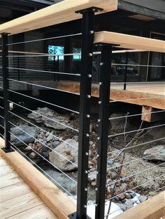 Deck Stair Railing, Front Porch Railings, Balcony Railing Design, Porch Railing Designs, Exterior Stair Railing, Horizontal Deck Railing, Outdoor Railings, Balcony Deck, Railings For Decks