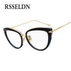 c554c9526c RSSELDN 2018 Fashion New Women Eyeglasses Frames Classic Brand Designer  Luxury Cat Eye Glasses Trendy Lunettes