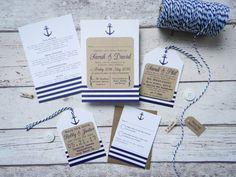 Nautical Wedding Invitation bundle, seaside wedding - rustic wedding - handmade