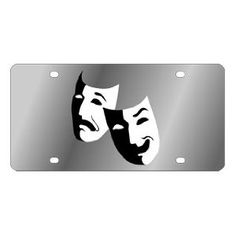 Drama Masks Stainless Steel License Plate