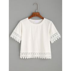 White Crochet Trim Crop T-shirt (25 PLN) ❤ liked on Polyvore featuring tops, t-shirts, shirts, white, stretch t shirt, white shirt, short-sleeve button-down shirts, cropped white shirt and lace crop tops