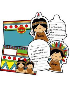 Leuke uitnodigingen voor een kinderfeestje in het thema indianen. Indian Crafts, Indian Party, Cowboys, Comics, Birthday, Fictional Characters, Lady, Style, Indian People