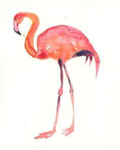 FLAMINGO Original watercolor painting 8x10inch(Vertical orientation)