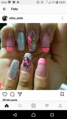 Yellow Nails, Love Nails, Manicure And Pedicure, Nails Inspiration, Summer Nails, Nail Art Designs, Acrylic Nails, Make Up, Tattoos