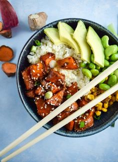 Hearty and healthy teriyaki cauliflower rice bowls, with edamame, avocado, fire-roasted corn, and caramelized sweet potatoes.