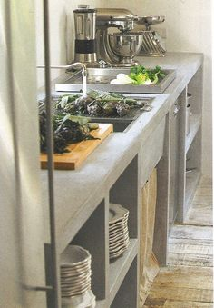 Concrete countertops silhouette plates stainless industrial appliances