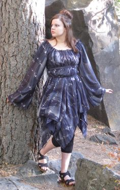 Black Sparkle Fairy Pirate Gothic Peasant by EnchantedEnsembles, $81.50