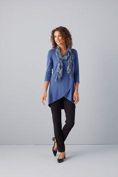 77a4d762437 Blue hues with comfort and versatility (featuring J.Jill's Wearever  Wrap-Style Tunic