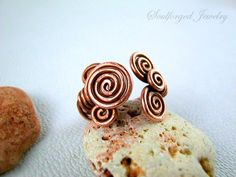 """Copper wire """"whirly"""" adjustable ring for her by SoulforgedJewelry on Etsy"""