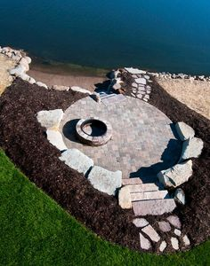 Beach M.T. Carpenter Landscape Hillside Landscaping, Outdoor Landscaping, Inexpensive Landscaping, Landscaping With Boulders, Landscaping Design, Ponds Backyard, Fire Pit Backyard, Backyard Patio, Lake Dock