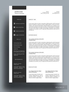 OZER RESUME This resume template is professionally designed for those who like simple, organized and clean template. This is fully editable according to your preferences. Resume Layout, Resume Writing, Resume Cv, Graphic Design Resume, Cv Design, Portfolio Resume, Template Portfolio, Portfolio Design, Simple Cv Template