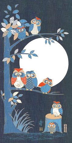 Japanese Asian Quilting Sewing Fabric - Noren Panel - Owl Family In Tree & Full Moon Owl Applique, Applique Patterns, Applique Quilts, Quilt Patterns, Owl Quilt Pattern, Owl Patterns, Owl Quilts, Animal Quilts, Owl Tree