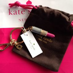 ♠️Kate Spade Kay chain lipstick DROP PRICE ‼️%Authentic kete spade Brand new dust bag included very cute Kay chain kate spade Accessories