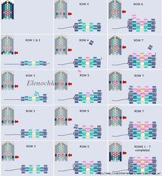 seed bead bracelet patterns for beginners Loom Bracelet Patterns, Beaded Necklace Patterns, Seed Bead Patterns, Bead Loom Bracelets, Beading Patterns, Seed Bead Jewelry, Bead Jewellery, Seed Beads, Bugle Beads