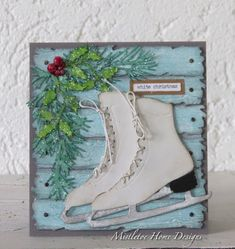 Card with ice skates on wood planks. Sizzix Ice Skates, Planks, Holiday Greens dies by Tim Holtz Die Cut Christmas Cards, Christmas Paper Crafts, Christmas Ideas, Christmas Decor, Card Making Inspiration, Making Ideas, Ice Skating, Roller Skating, Figure Skating