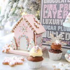 Our Bejewelled Gingerbread House, embellished with a dazzling array of edible sparkles and sugar pearls. #letitsparkle #gingerbreadhouse #allthatglitters #christmascollection #peggyporschen #pastelchristmas