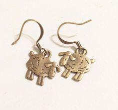 Sheep Earrings Animal Earrings Drop Dangle Earrings Antique Bronze Earrings Simple Bohemian Hobo Style Earrings