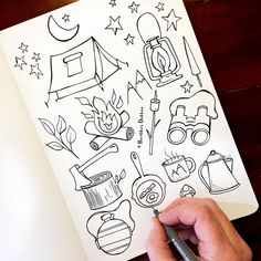 I'm daydreaming about warm summer nights & camping under the stars. Outline Drawings, Doodle Drawings, Doodle Art, Cute Drawings, Bullet Journal Tracker, Bullet Journal Ideas Pages, Bullet Journal Inspiration, Shop Signage, Christmas Drawing