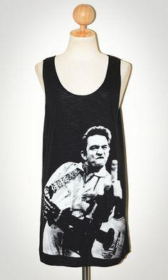 Johnny Cash Black Singlet Tank Top Sleeveless Male Singer Indie Rock T-Shirt Size M