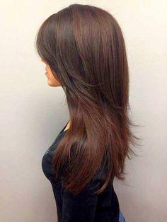 Длинные ровные волосы в стрижке каскад