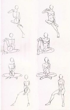 Poses. Sketches 29 - Woman sitting practice by Azizla.deviantart.com on @deviantART