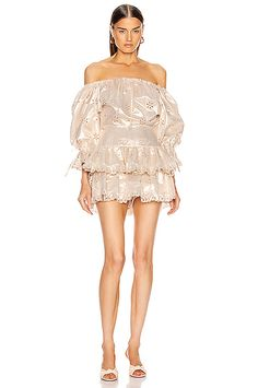 Alice Mccall Electric Galaxy Playsuit In Gold Alice Mccall, Ruffle Trim, Jumpsuits For Women, Playsuit, Diane Von Furstenberg, World Of Fashion, Stuart Weitzman, Rompers, Clothes For Women