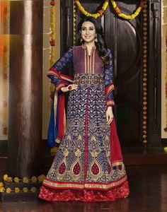 Designer #karishmaKapoor 3 meters #GeorgetteLehenga #Lehenga and #WeddingLehenga with 2.5 meters #BottomNet and 2.25 meters #ChiffonDupatta and #EmbroideryWork and #LaceBorderWork included. (Cat - 5198)