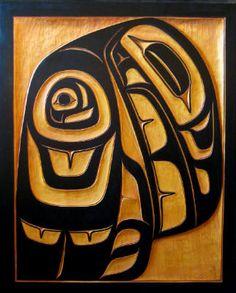 Raven, by Trevor Angus, a member of the Gitksan/Tsimshian nation.  31.5 x 21.5. in. on Cedar.