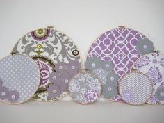 Nursery Decor, Girl Nursery, Custom Package, Home Decor, Embroidery hoop decor, Nursery wall art, Purple and gray nursery Decor. $78.00, via Etsy.