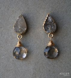 Smokey Drusy Stud Earrings by ATELIERGabyMarcos on Etsy, $83.00