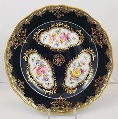 Gorgeous Antique Meissen Cobalt & Floral Plate produced in Germany by Meisssen in vthe late 19th century
