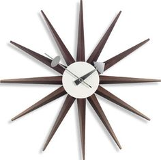 starburst clock Modern Clock, Mid-century Modern, Sunburst Clock, Cool Clocks, Flat Ideas, Wood Wall Art, Ceiling Fan, Mid Century, Metal