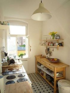 Kitchen -- I really like this use of space especially for renter friendly kitchen Reno ideas