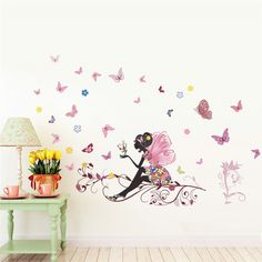 Butterfly Flower Fairy Wall Stickers For Kids Room Bedroom Accessories Decor DIY Wall Decals Mural Art Posters Girl's Room Decor Girls Wall Stickers, Kids Wall Decals, Butterfly Wall Stickers, Vinyl Wall Stickers, Wall Decal Sticker, Vinyl Art, Sticker Paper, Decoration Stickers, Wall Decorations