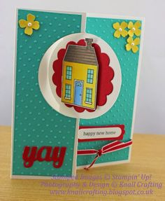 A fun card welcoming friends into their new home! Welcome Home Cards, New Home Cards, Flip Cards, Folded Cards, Scrapbook Cards, Scrapbooking, House Cards, Happy New Home, Congratulations Card