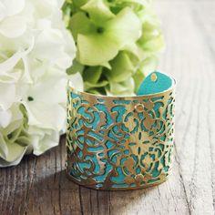 turquoise & metal lace bracelet