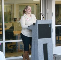 A nursing student speaking at Mendocino College's Allied Health Grand Opening Ceremony March 6, 2014