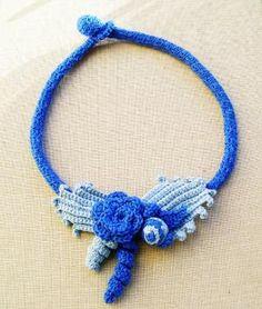 Royal Blue Necklace Blue Weddings Irish crochet necklace Vintage style necklace Crochet Tube Necklace Fiber jewelry by lindalejn