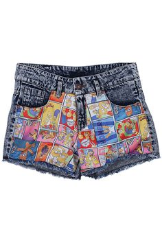 """""""The Simpson"""" Shorts Boho Shorts, Denim Shorts, Couture Outfits, Couture Clothes, Knee Length Shorts, Printed Denim, Short Styles, Latest Street Fashion, Leather Shorts"""