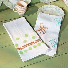 Stenciled+Tea+Towels+Idea+-+OrientalTrading.com