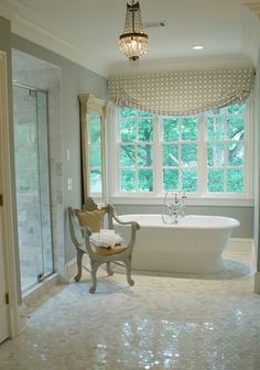 Bathroom - Chair, Chandelier, White Marble Tile
