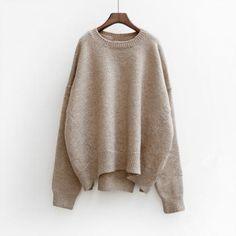Batwing Pure Color Pullover Loose K..