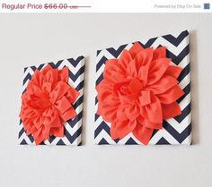 """MOTHERS DAY SALE Two Wall Flower -Coral Dahlia on Navy and White Chevron 12 x12"""" Canvas Wall Art- Flower Wall Art"""
