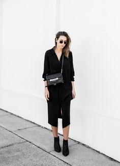 BC 'Hint' Shirt Dress (also similar here) | Asos skirt | Proenza Schouler PS11 Mini bag (budget option here) | Acne 'Jensen' suede ankle boots