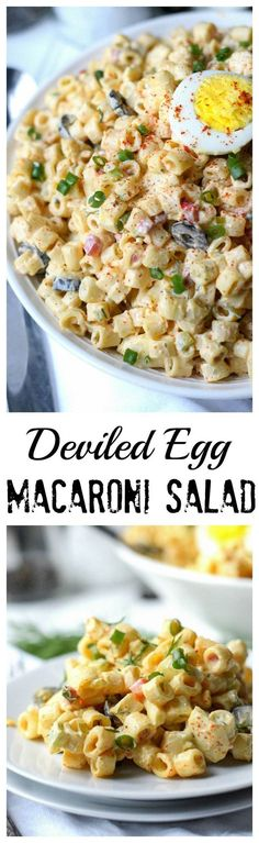 This deviled egg macaroni salad is packed with eggs and creamy noodles. Deviled Egg Macaroni Salad Recipe, Macaroni Salads, Healthy Macaroni Salad, Deviled Egg Potato Salad, Egg Salad Recipes, Pasta Salad Recipes Cold, Summer Macaroni Salad, Elbow Macaroni Recipes, Potato Salad With Egg