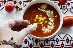 supa de rosii cu crema de nuci Tomato Soup, Chana Masala, Natural, Ethnic Recipes, Mai, Fine Dining, Tomato Soup Recipes, Nature, Au Natural
