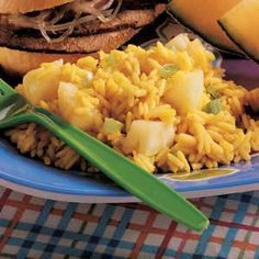 "Curried Pineapple Rice Recipe -Rice, curry, garlic and pineapple blend together to create this distinctive side dish. ""It's so pretty serve in a pineapple shell,"" says Cecelia Bodden of Burnaby, British Columbia. ""And it tastes as good as it looks. Rice Recipes, Asian Recipes, Great Recipes, Ethnic Recipes, Potato Recipes, Vegetarian Chicken, Vegetarian Recipes, Vegetarian Options, Columbia Food"