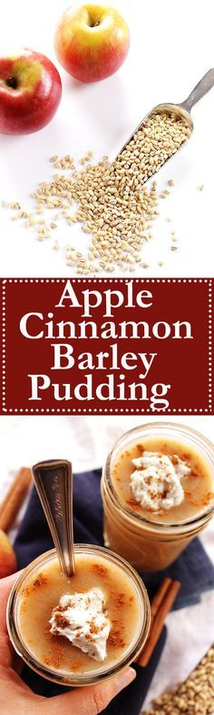 Apple Cinnamon and Barley Pudding - A traditional Irish dessert recipe, AKA flummery! 8 ingredients + EASY to make! Thick and creamy, so delicious! Vegan/ Dairy Free! | Robustrecipes.com