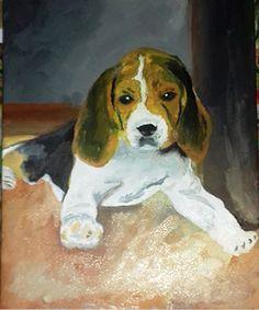 Horváth Attila festő tanfolyamot végzett nálunk és ajándékba készítette ezt a szépséges kutyust! Biztosan nagy örömet szerzett vele!