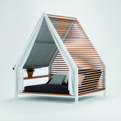 "Spanish-born, Milan-raised designer Patricia Urquiola is widely responsible for making contemporary outdoor furniture just as appealing as its high-design interior counterparts. This aluminum-framed mini-cottage with balau-wood slats is no exception: Urquiola describes it as ""the definitive refuge in which to enjoy the outdoors."""